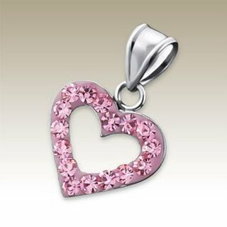 Heart Outline with Pink Crystals
