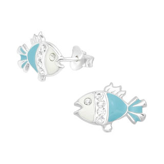 Fish Blue and White with Crystal