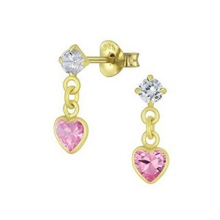 Heart -  rose drop crystal - 14K