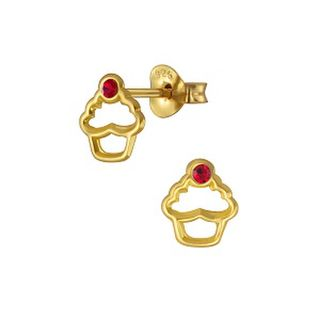 Cupcake Outline with Red Crystal 14K Gold