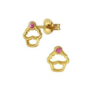 Cupcake Outline with Rose Crystal 14K Gold
