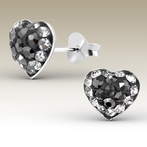 Heart with Black and Clear Crystals