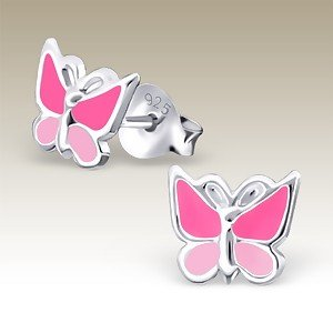 Butterfly Earrings Pink on Pink