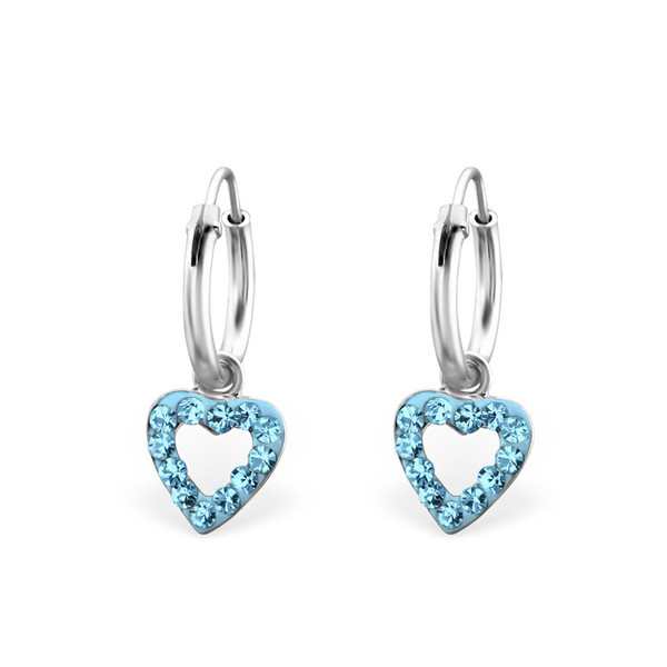 Crystal Heart Hoop - Blue
