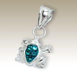Frog with Aqua marine coloured crystals