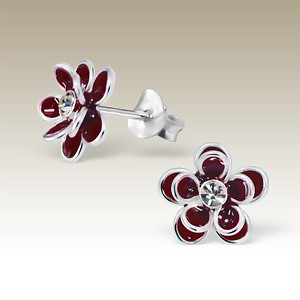 Flower Double Petal Red with Crystal