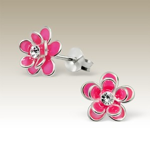 Flower Double Petal Pink with Crystal