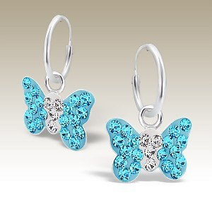 Butterfly Hoop Blue Crystals