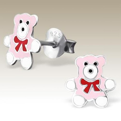 Teddy Bear Pink Red Ribbon