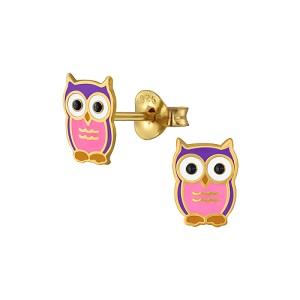 Owl Pink and Purple 14K