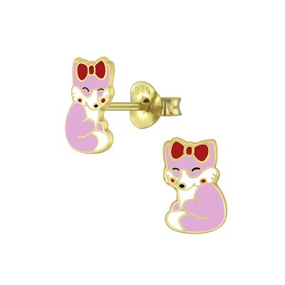 Fox - Pink with Red Bow 14K