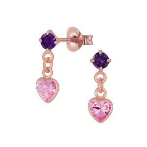 Heart - Drop Crystal, Rose Gold