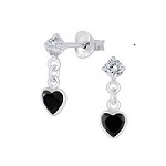 Heart -  black drop crystal